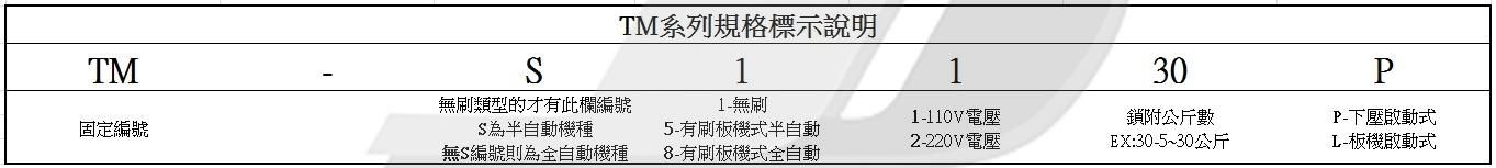 電動起子: TM系列規格標示說明